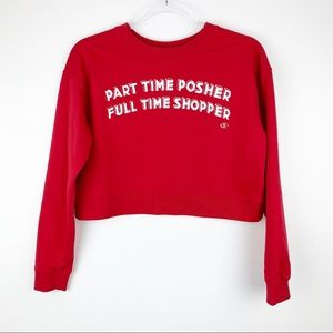 Part Time Posher Cropped Red Sweatshirt Small